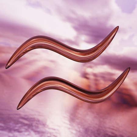 Brilliant Aquarius zodiac horoscope symbol. 3D rendering