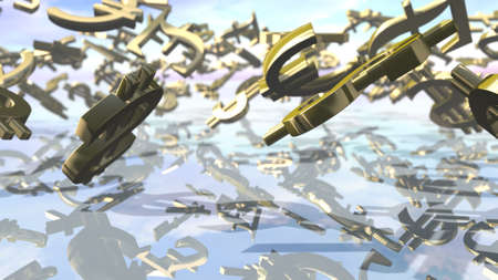 Shiny leading money signs falling down. 3D rendering Stock Photo