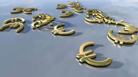 bl: Shiny gold Euro money signs. 3d rendering Stock Photo