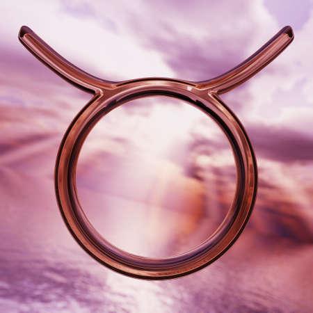 Brilliant zodiac horoscope Taurus symbol. 3D rendering