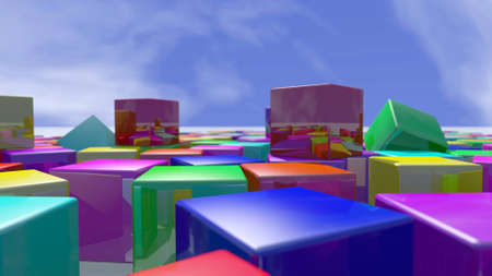 Colorful cube blocks piled up. 3D rendering Stock Photo