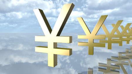 Golden yen money signs in a row. 3D rendering