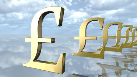 Golden pound money signs in a row. 3D rendering