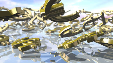 Shiny dollar, euro, pound and yen money signs falling down. 3D rendering