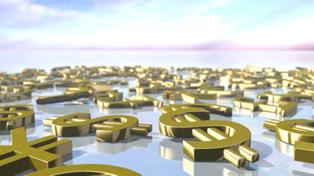 Shiny leading money signs piled up. 3D rendering Stock Photo