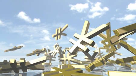 Shiny yen money signs piled up. 3D rendering Stock Photo