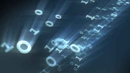 Binary bits and bytes of computer numbers particles. 3D rendering
