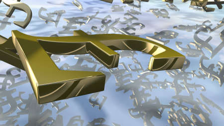 Gold english Pound money sign close up. 3d rendering