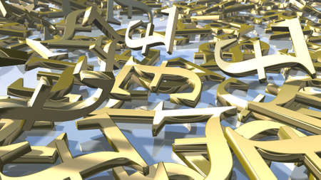 Shiny gold english Pound money signs. 3d rendering