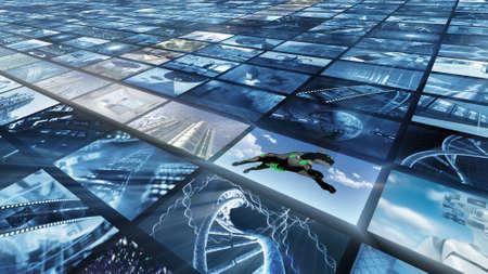 slantwise: Bright videowall, diagonally. 3d rendering Stock Photo