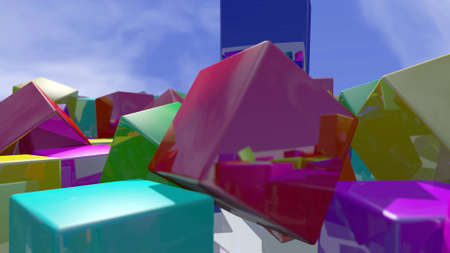 Colorful cube blocks particles close up. 3D rendering
