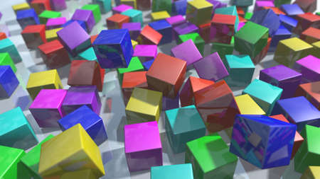 Colorful cube blocks particles. 3D rendering