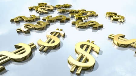 Shiny gold dollar money signs. 3d rendering Stock Photo