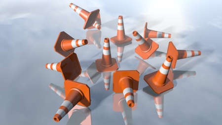 Traffic cone pilons falling down. 3D rendering Stock Photo