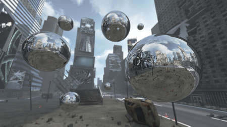 Apocalyptic silver spheres on Time Square New York Manhattan. 3D rendering Stock Photo