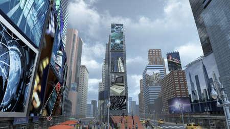 타임 스퀘어 뉴욕 맨하탄. 3D 렌더링 스톡 콘텐츠 - 73615948