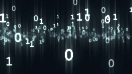 Computer binary bits and bytes numbers particles. 3D rendering