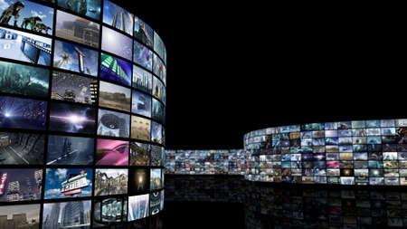3d rendering. Unrolling cinema videowall
