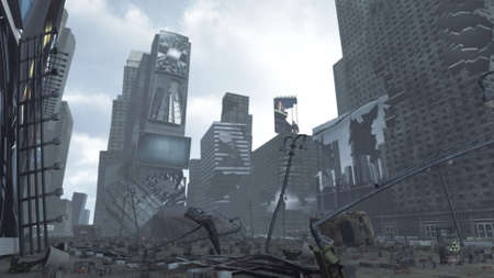Apocalyptic ruined Time Square New York Manhattan. 3D rendering