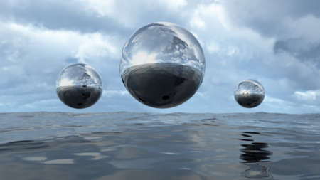res: 3D rendering abstract liquid transparent sphere above water