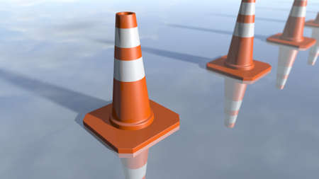 bl: Traffic cone pilons in a row. 3D rendering