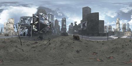 Panorama of ruined Time Square New York Manhattan. HDRI. Equirectangular.3D rendering Stock Photo - 74699971