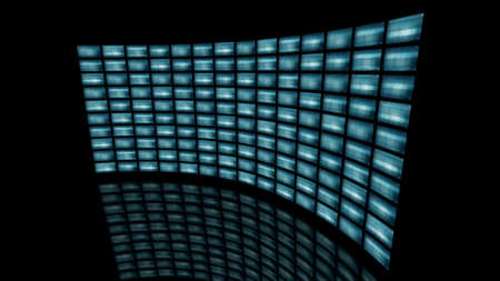 Distorted curved video wall turn to right. 3D rendering