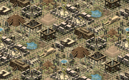Isometric buildings of ancient Egypt, great tile-able platform with old architecture. 3D rendering