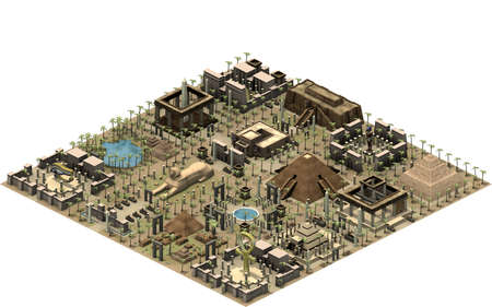 Isometric buildings of ancient Egypt, platform with old architecture. 3D rendering