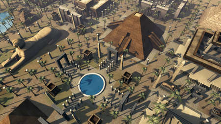Ancient Egypt scenic birds eye view. 3D rendering