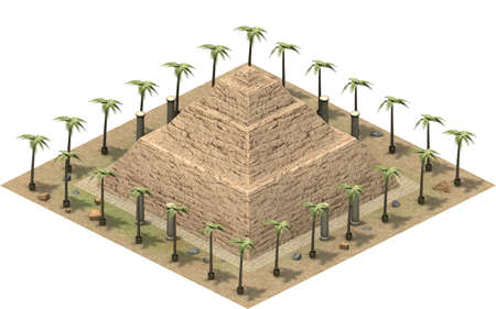 Isometric buildings of ancient Egypt, stair pyramid. 3D rendering