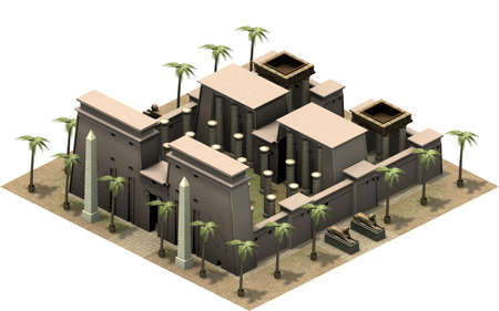 obelisk stone: Isometric buildings of ancient Egypt, great temple complex. 3D rendering Stock Photo