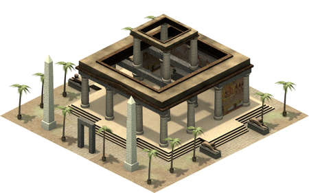 Isometric buildings of ancient Egypt, temple with pillars. 3D rendering Banco de Imagens