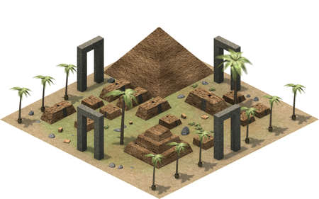 antiquities: Isometric buildings of ancient Egypt, pyramid and mastaba in the dessert. 3D rendering
