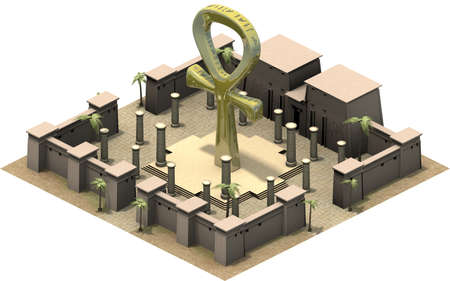 obelisk stone: Isometric buildings of ancient Egypt, the ankh symbol. 3D rendering
