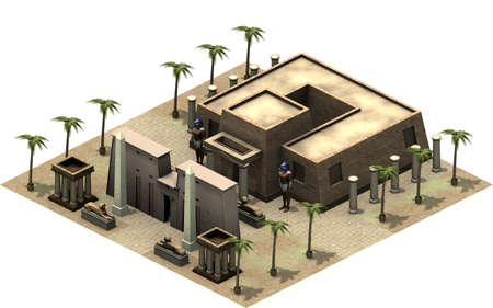 Isometric buildings of ancient Egypt, entrance to temple. 3D rendering