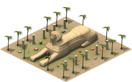 antiquities: Isometric buildings of ancient Egypt, sphinx. 3D rendering Stock Photo