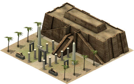 antiquities: Isometric buildings of ancient Egypt, great temple. 3D rendering Stock Photo