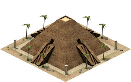 artefact: Isometric buildings of ancient Egypt, great pyramid. 3D rendering Stock Photo