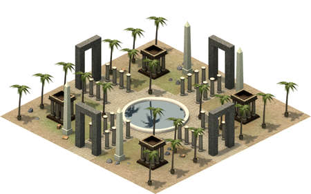 Isometric buildings of ancient Egypt, oasis in the desert. 3D rendering