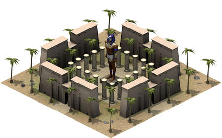 Isometric buildings of ancient Egypt, statue of Horus. 3D rendering