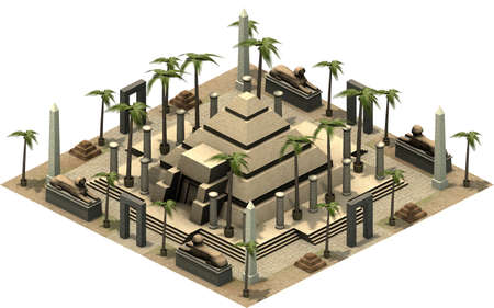 antiquities: Isometric buildings of ancient Egypt, pyramid. 3D rendering
