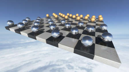hoover dam: Surreal transparent spheres on a chess plate. 3D rendering
