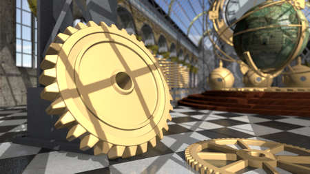 Mechanical devices in victorian interior. 3D rendering Stock Photo