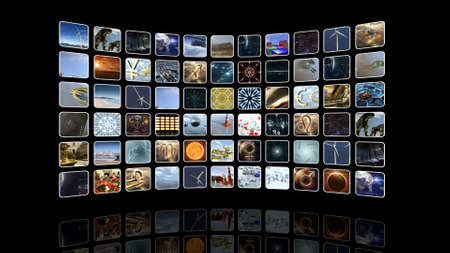 mounting: Curved video wall with icons. 3D rendering Stock Photo