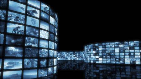 blue widescreen widescreen: 3d rendering. Glamorous tinted videowall
