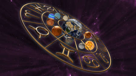 Mystic astrology horoscope zodiac symbol with twelve planets in cosmic scene. 3D rendering