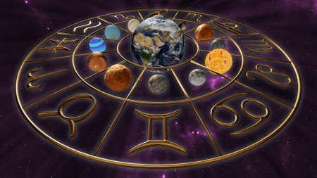 Mystic golden horoscope zodiac symbol with twelve planets in cosmic scene. 3D rendering Stock Photo