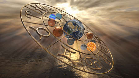 Mystic golden horoscope zodiac symbol with twelve planets. 3D rendering Banco de Imagens