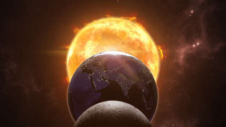 태양, 달 및 지구 글로브입니다. 이클립스 우주 장면. 3D 렌더링 스톡 콘텐츠 - 76935375